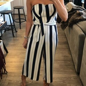 Strapless nautical inspired jumpsuit